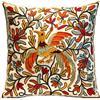 ZUODU - Federa decorativa per cuscino, in cotone e lino, ricamata, 45 x 45 cm - L'albero della vita (rosso con cornice), Cotone Lino, Bird Cushion, 45 x 45 Centimeters